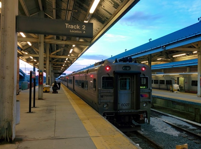 The train platforms at the Atlantic City Rail Terminal.