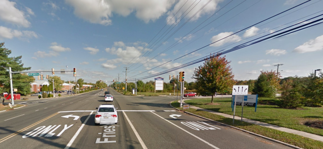 The intersection of Fries Mill and White Birch Roads in Washington Township