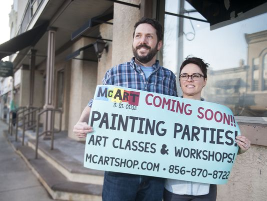 "From the Courier Post: ""Owners Jim and Erin McHugh look to become a part of a blossoming art boom with their art studio in Woodbury."" (Photo: Chris LaChall/Courier-Post)"