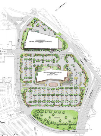 The suburban style campus surrounded by parking that Subaru wants to bring to Camden.
