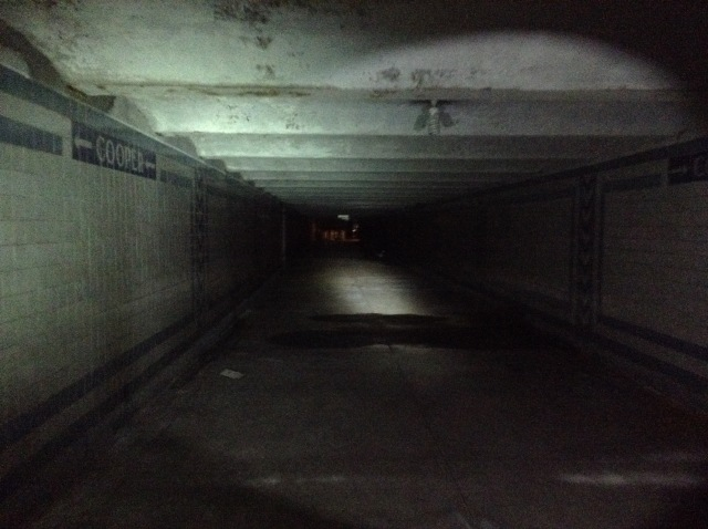 Heading back south down the pedestrian tunnel from Cooper Street.