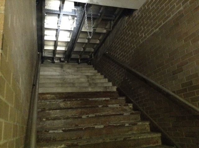 This stairwell is the only remaining part of the Parkade building.