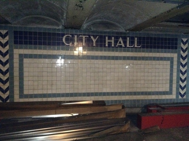 The stations' beautiful old tiling remains impressively intact.