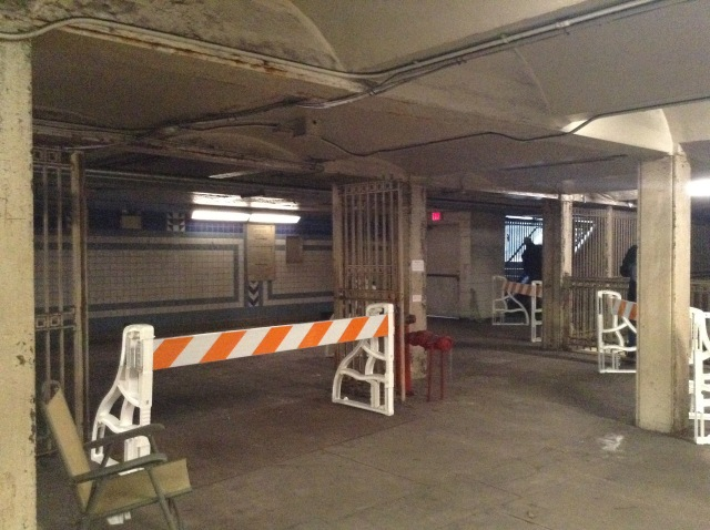 This is the northern station entrance area where the turnstiles used to be. You can see the now-closed off stairway on the northeastern corner of 5th & Market Streets In the background.