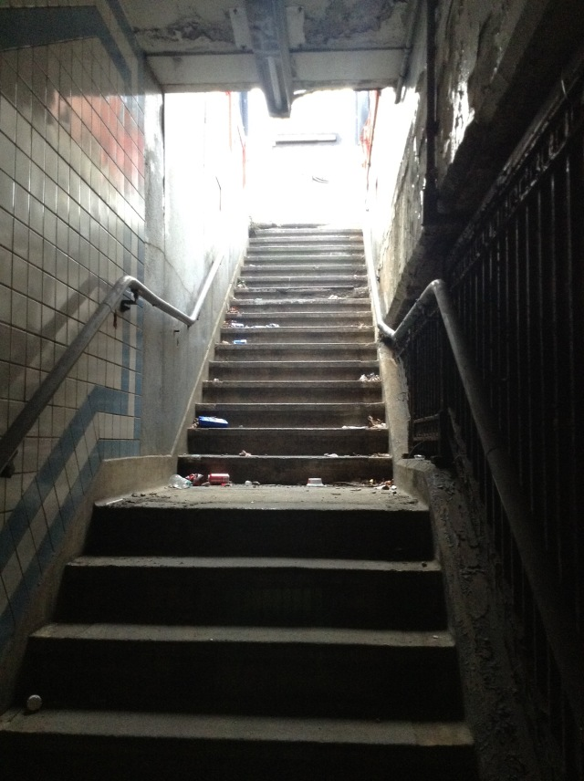 Steps leading to the currently-closed off stairs on the northeastern corner of 5th & Market Streets.