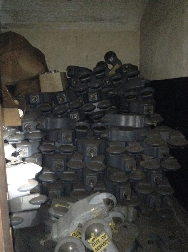 Just a storage room full of old meters from station parking lots.