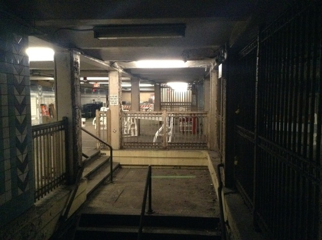 Another view of the closed off entrance and turnstile area.