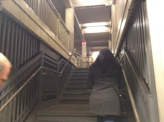 Stairway leading from the platform to the closed off north side of the station.